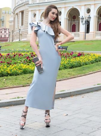 ISSA PLUS: Серое вечернее платье на одно плечо 441_серый - главное фото