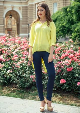 ISSA PLUS: Свободная хлопковая асимметричная рубашка желтого цвета 751_желтый - главное фото