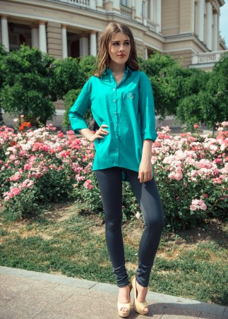 ISSA PLUS: Зеленая хлопковая рубашка с молнией на спине 750_зеленый - главное фото