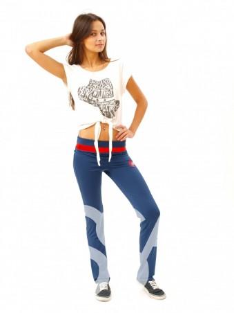 ISSA PLUS: Синие с красным спортивные штаны из элластана 060_синий/кораловый - главное фото