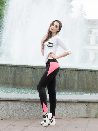 ISSA PLUS: Черные облегающие спортивные брюки с розовой вставкой 529_черный/розовый - главное фото