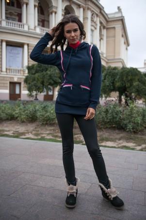ISSA PLUS: Женская синяя толстовка с капюшоном и молниями 1067_синий - главное фото