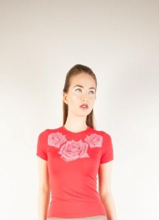 ISSA PLUS: Коралловая футболка с розами 37_коралловый - главное фото