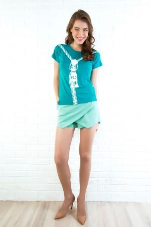 ISSA PLUS: Модные мятные шорты-юбка 310_мятный - главное фото