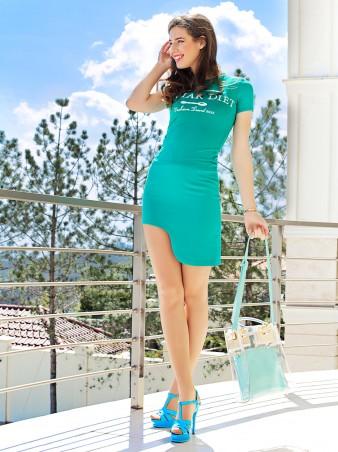 ISSA PLUS: Мятная юбка с боковой выемкой Y-03_мятный - главное фото