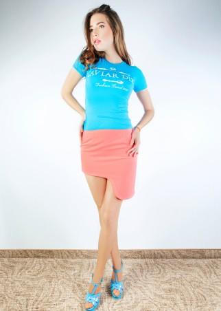 ISSA PLUS: Коралловая юбка с боковой выемкой Y-03_коралловый - главное фото