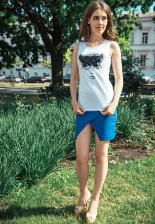 ISSA PLUS: Синяя юбка с декоративным запахом Y-04_синий - главное фото