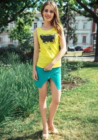 ISSA PLUS: Мятная юбка с декоративным запахом Y-04_мятный - главное фото