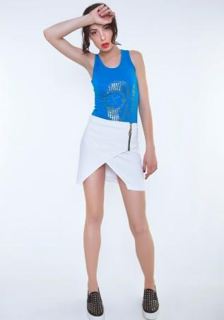 ISSA PLUS: Белая юбка с декоративным запахом Y-04_белый - главное фото