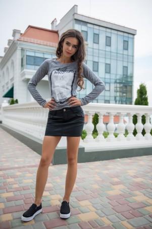 ISSA PLUS: Черная юбка мини из матовой эко-кожи 1005_черный - главное фото