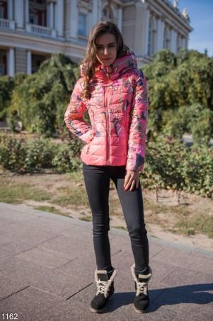 ISSA PLUS: Розовая дутая куртка с принтом 1162_розовый - главное фото