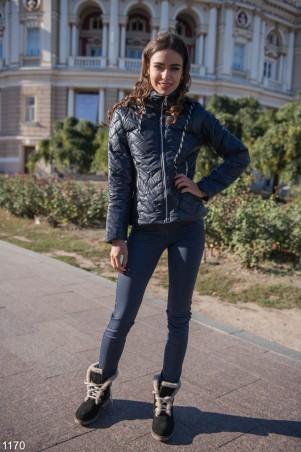 ISSA PLUS: Короткая синяя демисезонная куртка 1170_синий - главное фото