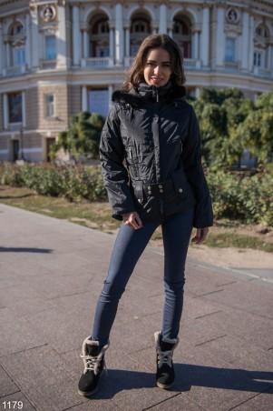 ISSA PLUS: Черная демисезонная куртка с капюшоном 1179_черный - главное фото