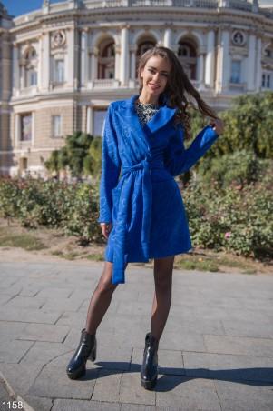 ISSA PLUS: Синее пальто с узором 1158_синий - главное фото