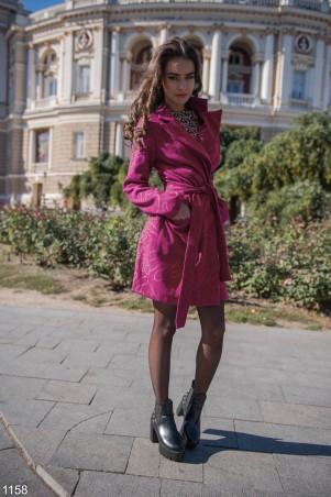 ISSA PLUS: Малиновое пальто с узором 1158_малиновый - главное фото