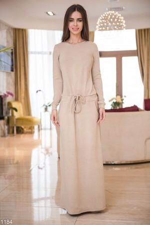 ISSA PLUS: Бежевое платье в пол с карманами и пояском 1214_бежевый - главное фото