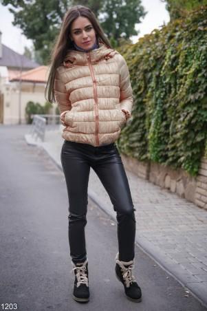 ISSA PLUS: Короткая бежевая дутая курточка 1203_бежевый - главное фото