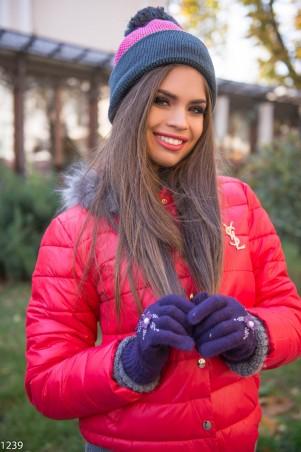 ISSA PLUS: Фиолетовые перчатки с цветочной аппликацией 1239_фиолетовый - главное фото