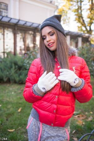 ISSA PLUS: Белые перчатки с мехом и стразами 1244_белый - главное фото