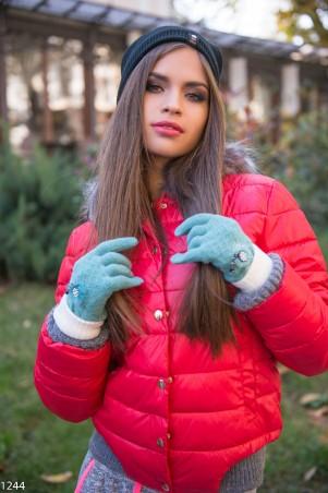 ISSA PLUS. Зеленые перчатки с мехом и стразами. Артикул: 1244_зеленый