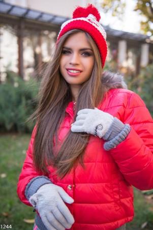 ISSA PLUS: Светло-серые перчатки с мехом и стразами 1244_светло-серый - главное фото