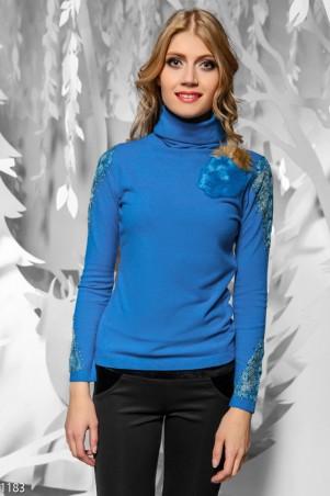ISSA PLUS: Бирюзовый свитер с меховым оплечьем 1183_бирюзовый - главное фото