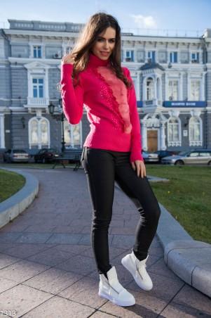 ISSA PLUS: Малиновый свитер с мехом на груди 1313_малиновый - главное фото