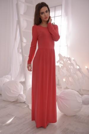 ISSA PLUS: Красное платье в пол с длинным рукавом 1318_красный - главное фото