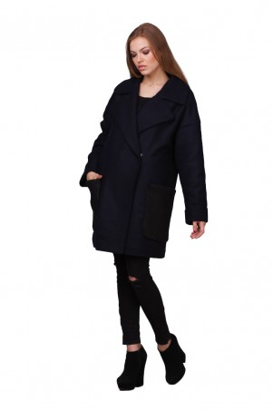 Lilo: Темно-синее пальто с вязаными карманами 01737 - главное фото