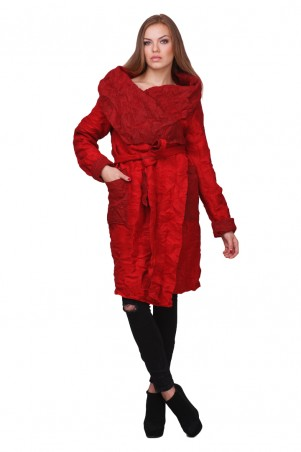Lilo: Ультрамодное красное пальто «Жатка» на запах 01816 - главное фото
