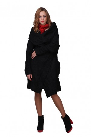 Lilo: Ультрамодное черное пальто «Жатка» на запах 01783 - главное фото