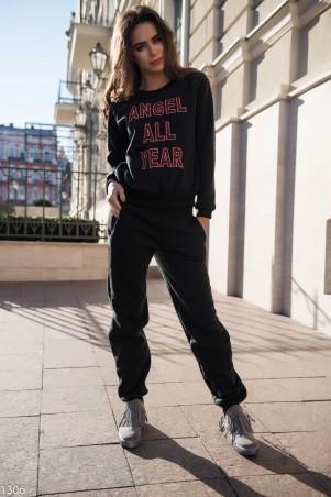 ISSA PLUS: Черный спортивный костюм на флиссе с надписью 1306_черный - главное фото