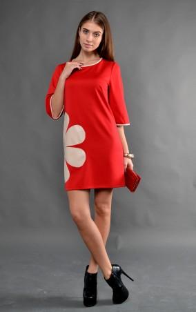 """TessDress: Стильное женское платье """"Ромашка"""" red 1234 - главное фото"""