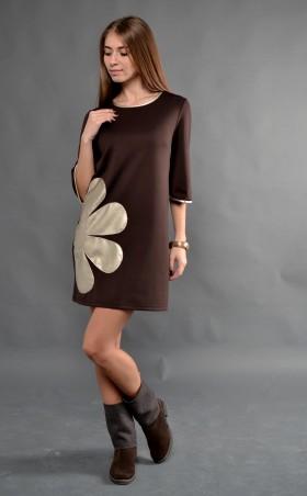 """TessDress: Стильное женское платье """"Ромашка"""" brown 1235 - главное фото"""