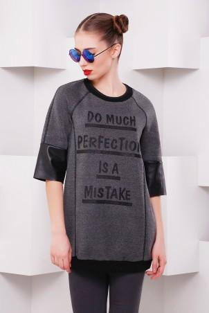 "TessDress: Теплое  платье -туника с накаткой ""Нино"" gray 5034 - главное фото"