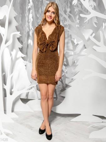 ISSA PLUS: Золотистое платье с крупным бантом на груди 1428_люрикс-золото - главное фото