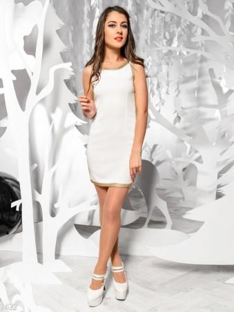 ISSA PLUS: Белое платье с золотым кантом 1422_белый - главное фото