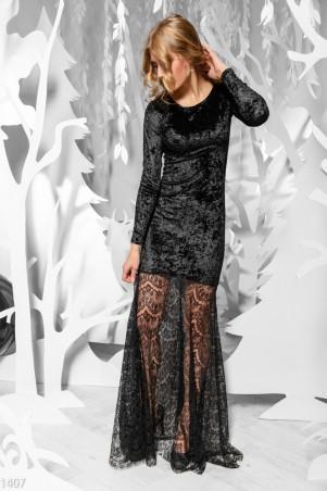 ISSA PLUS: Черное вельветовое платье с ажурным подолом 1407_черный - главное фото