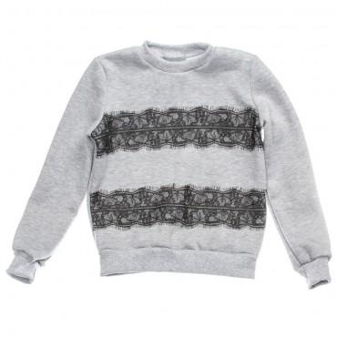 Kids Couture: Кофта 15-16 флис черное кружево 7416151536 - главное фото