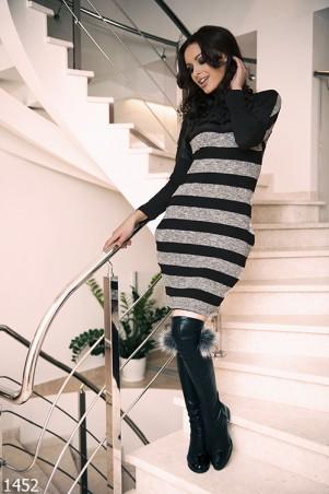 ISSA PLUS: Полосатое платье с бархатной надписью Selfie 1452_серый - главное фото