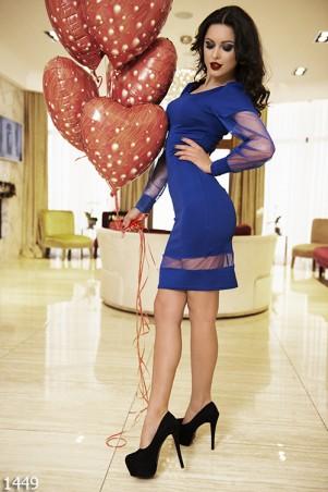 ISSA PLUS: Синее платье мини из кукурузы с фатиновым рукавом 1449_электрик - главное фото