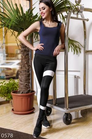 ISSA PLUS: Спортивные штаны из эластика с асимметричными белыми вставками 578_черный/белый - главное фото