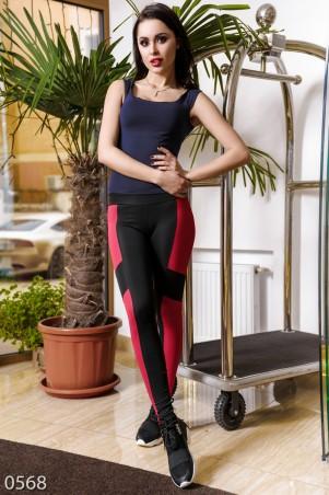 ISSA PLUS: Спортивные штаны из эластика с крупными красными вставками 568_черный/красный - главное фото