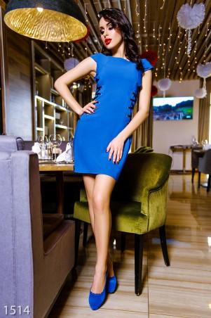 ISSA PLUS: Платье цвета электрик с черной шнуровкой по бокам 1514_электрик - главное фото