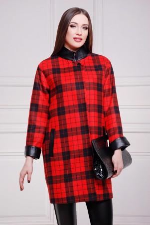 Glem: Пальто Клетка красно-черная  Клоди2 - главное фото
