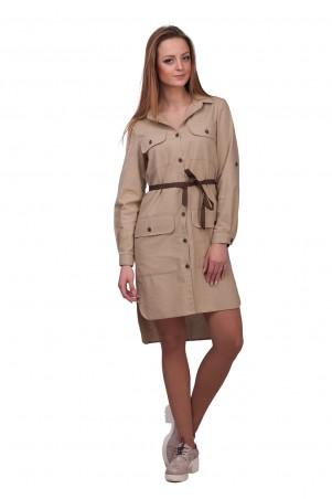 Lilo: Бежевое платье-рубашка из льна 01847 - главное фото