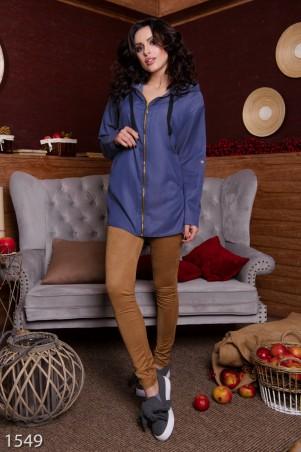 ISSA PLUS: Свободная синяя рубашка на молнии с принтом на спине 1549_синий - главное фото