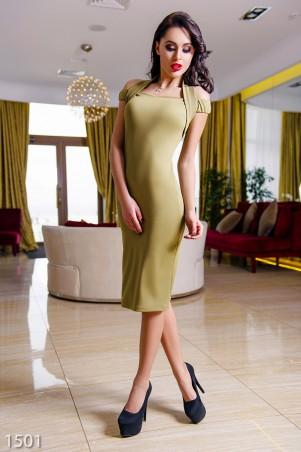 ISSA PLUS: Вечернее платье-миди цвета хаки с открытыми плечами 1501_хаки - главное фото