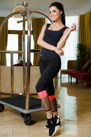 ISSA PLUS: Черные эластичные спортивные штаны с розовой вставкой и сеткой 515_черный/розовый - главное фото