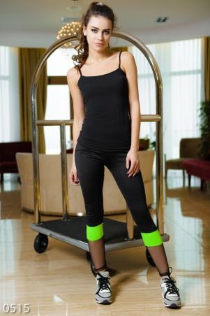 ISSA PLUS: Черные эластичные спортивные штаны с салатовой вставкой и сеткой 515_черный/салатовый - главное фото